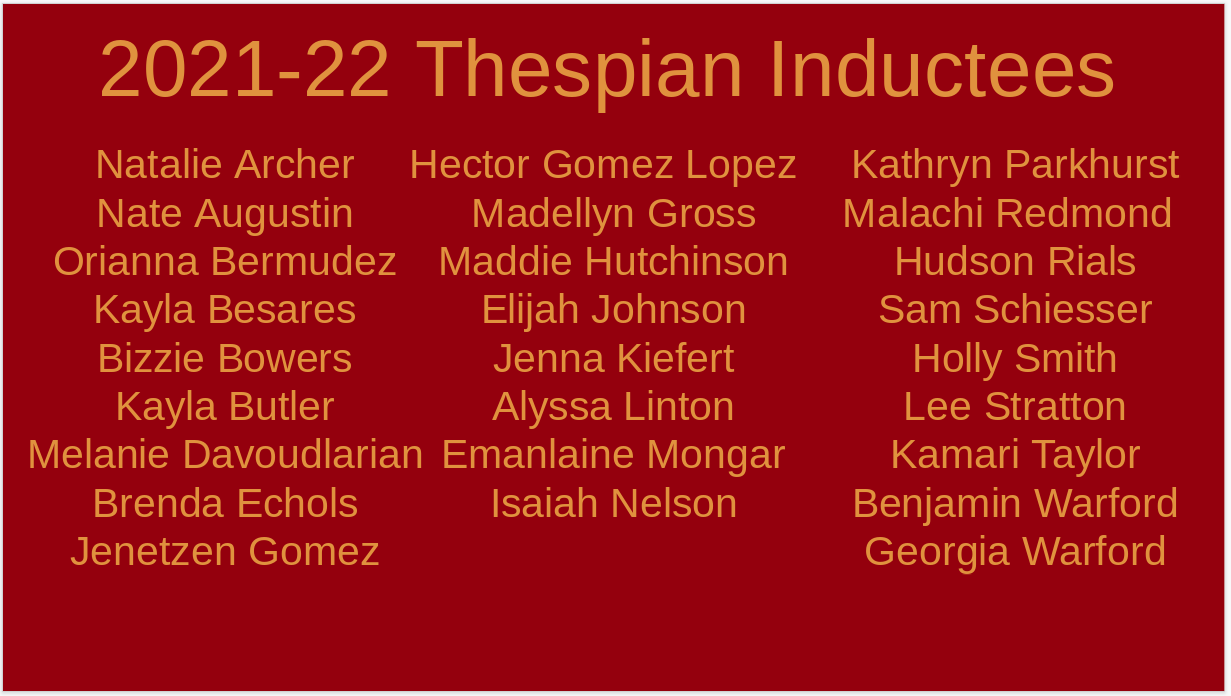 Congrats to Troupe 5565's New Thespians